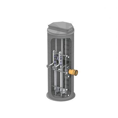 Подземная вертикальная канализационная насосная станция из полипропилена D3000_H8500