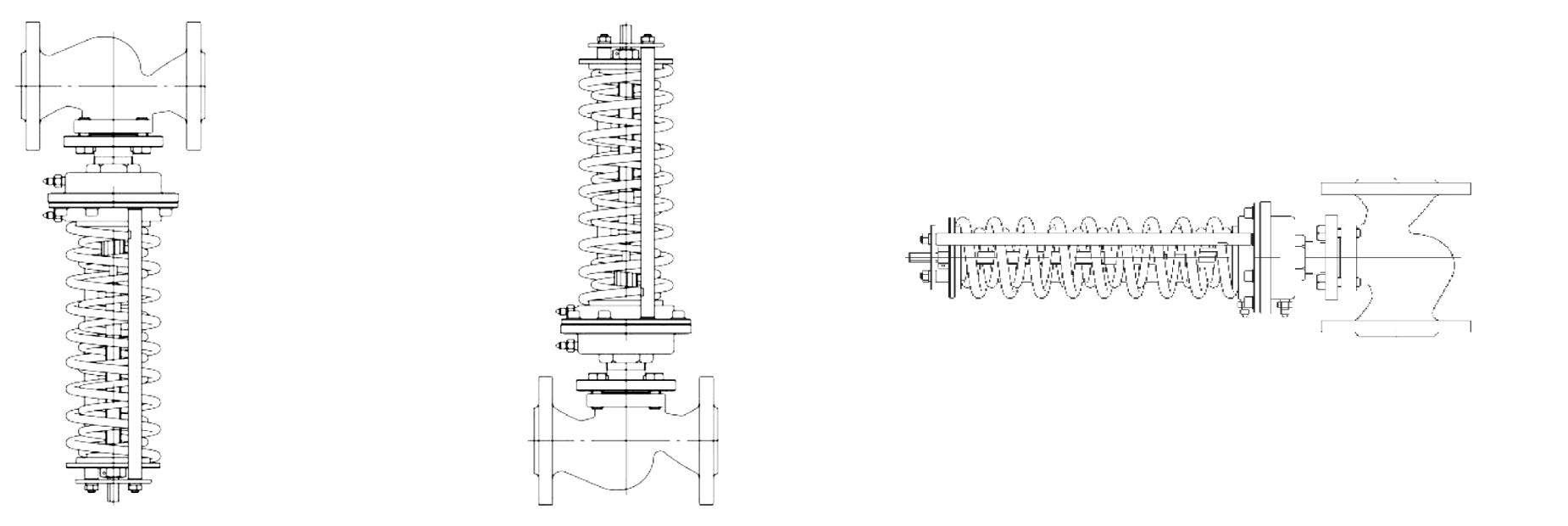 Монтажные положения регуляторов на трубопроводе